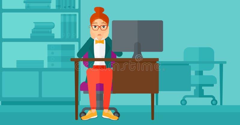 Zmęczony pracownika obsiadanie w biurze ilustracja wektor