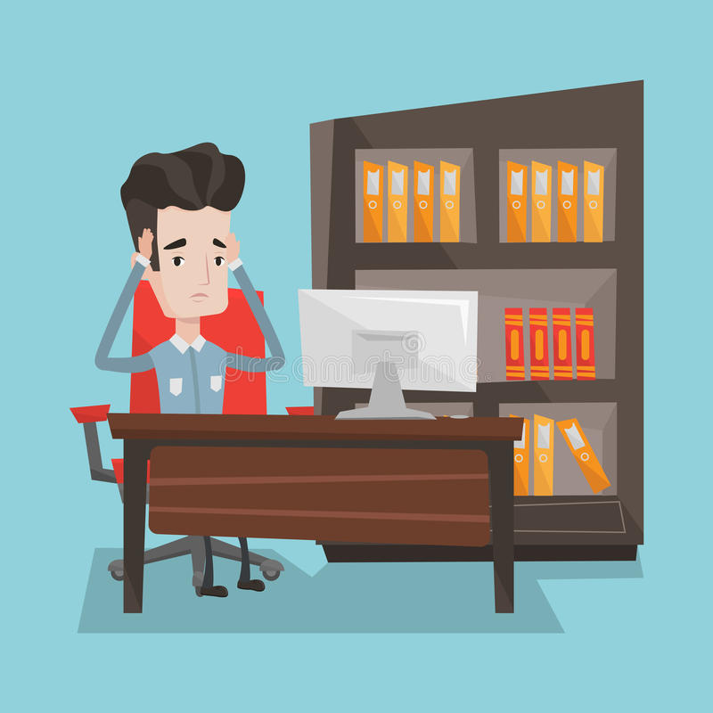 Zmęczony pracownika obsiadanie w biurze royalty ilustracja