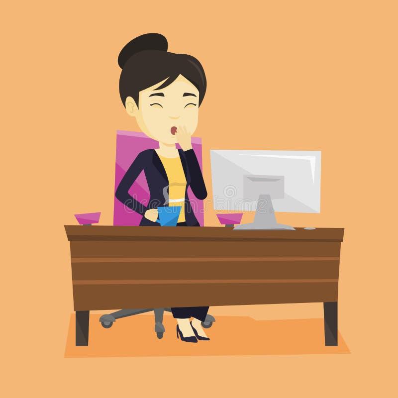Zmęczony pracownika ziewanie w biurze ilustracja wektor