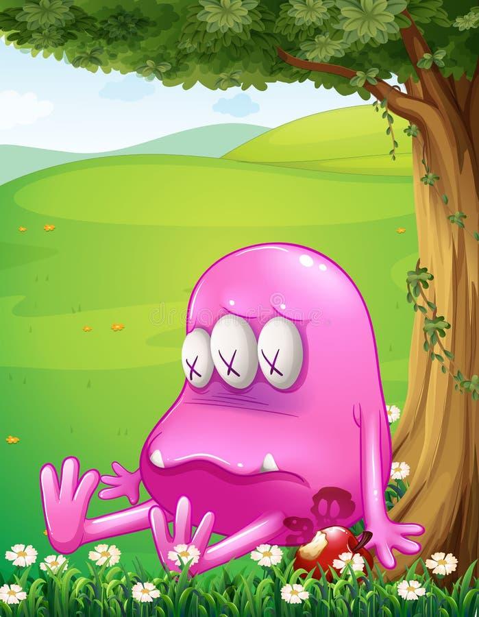 Zmęczony różowy potwór obok drzewa ilustracja wektor