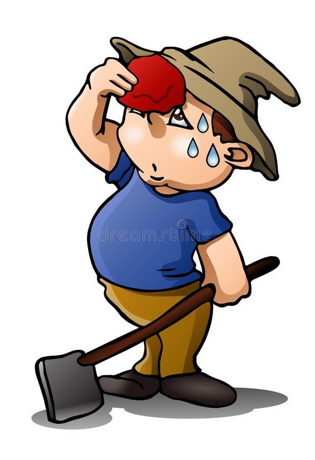 Zmęczony rolnik na odosobnionym bielu ilustracji