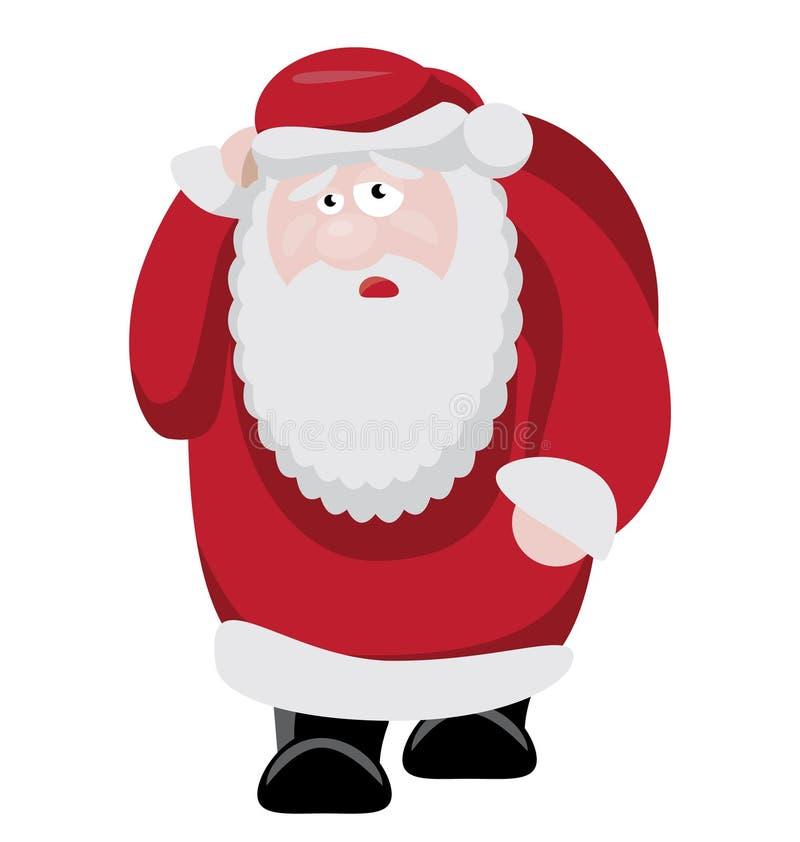 Zmęczony Santa po nowego roku świętowania ilustracja wektor