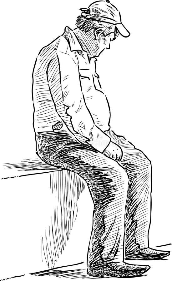 Zmęczony starsza osoba mężczyzna siedział puszek odpoczywać royalty ilustracja