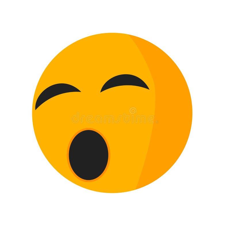 Zmęczony uśmiech ikony wektoru znak i symbol odizolowywający na białym tle, Męczący uśmiechu logo pojęcie royalty ilustracja