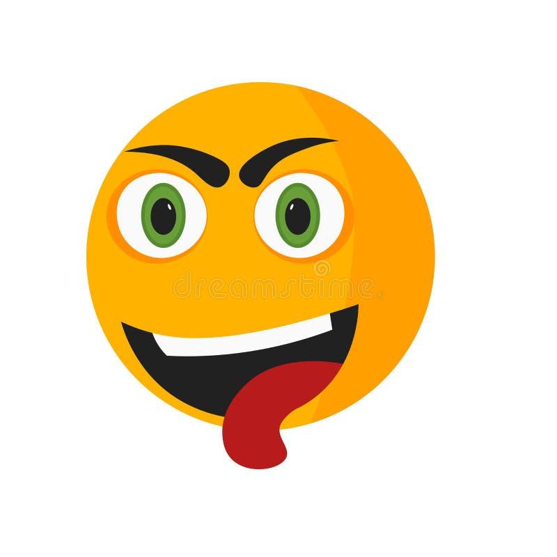 Zmęczony uśmiech ikony wektoru znak i symbol odizolowywający na białym tle, Męczący uśmiechu logo pojęcie ilustracja wektor