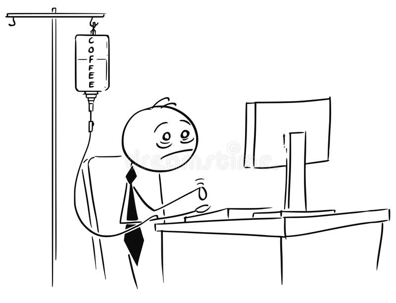 Zmęczony Zapracowany biznesmen Pracuje na komputerze z kawą Inf ilustracja wektor