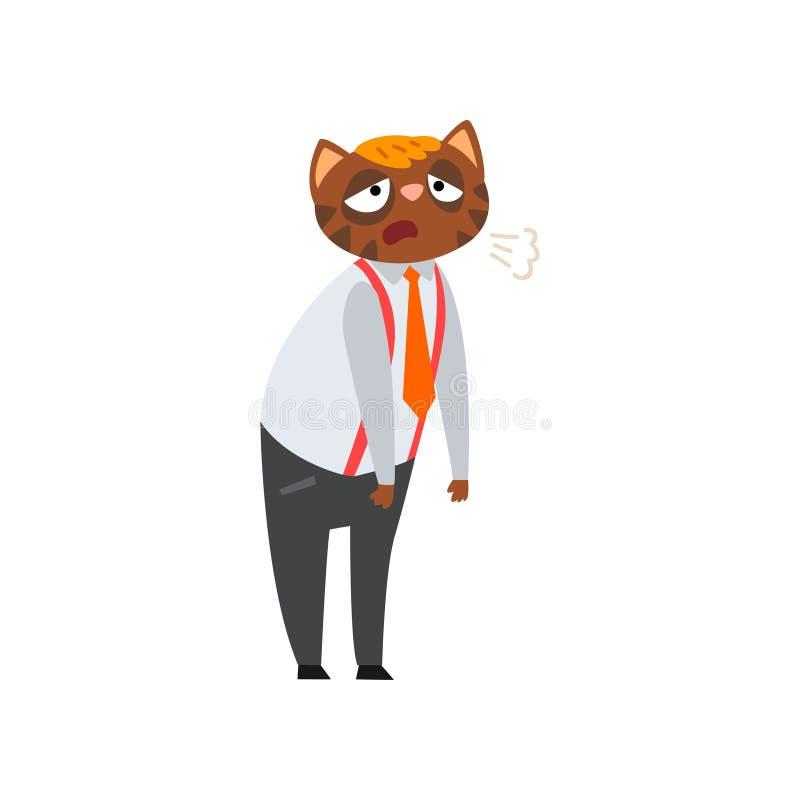 Zmęczony zapracowany biznesmena kot, zhumanizowana zwierzęca postać z kreskówki przy praca wektoru ilustracją royalty ilustracja