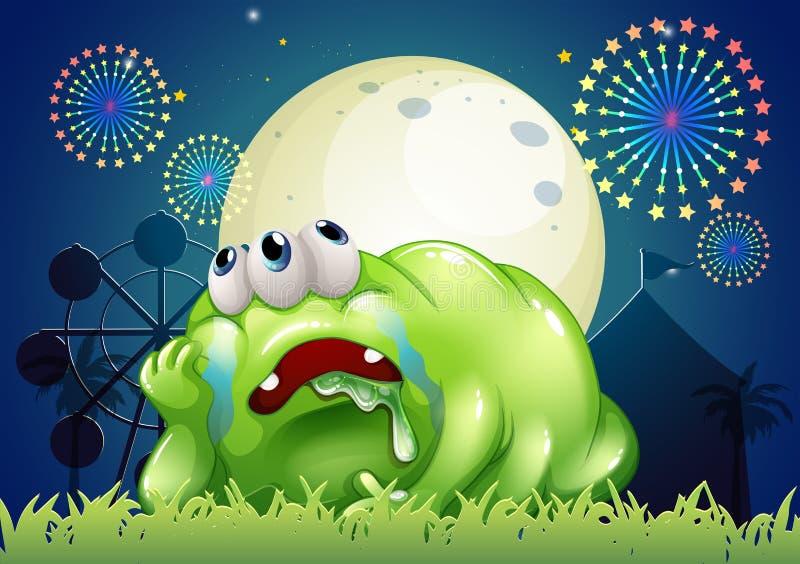 Zmęczony zielony potwór przy karnawałem royalty ilustracja