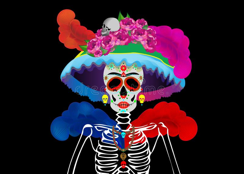 Mexican skull, Calavera with flowers. Decoration for Day of the Dead, Dia de los Muertos. Halloween poster background, isolated. Catrina La Calavera. Catrina is vector illustration