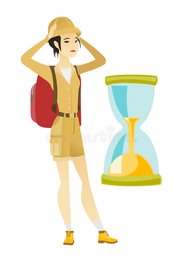 Zmartwiona azjatykcia podróżnik kobieta patrzeje hourglass royalty ilustracja