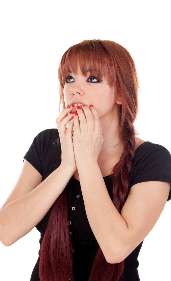 Download Zmartwiona Nastoletnia Dziewczyna Ubierał W Czerni Z Przebijaniem Obraz Stock - Obraz złożonej z atrakcyjny, czerń: 53790301