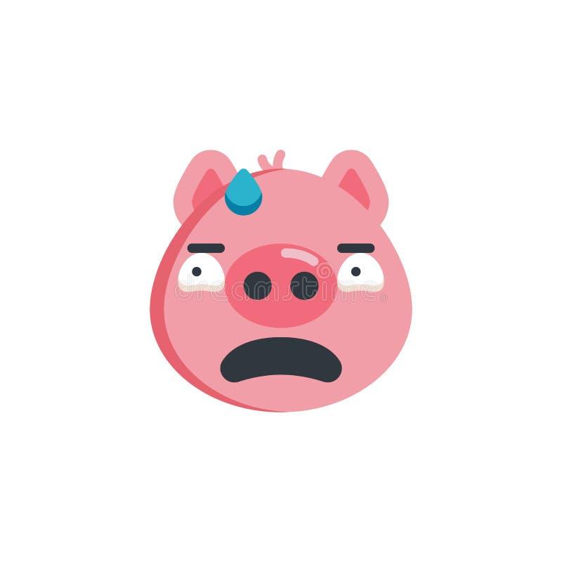 Zmartwiona prosiątko twarzy emoji mieszkania ikona ilustracji