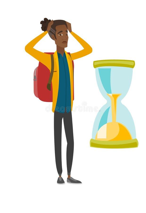 Zmartwiony afrykański podróżnika mężczyzna patrzeje hourglass ilustracji