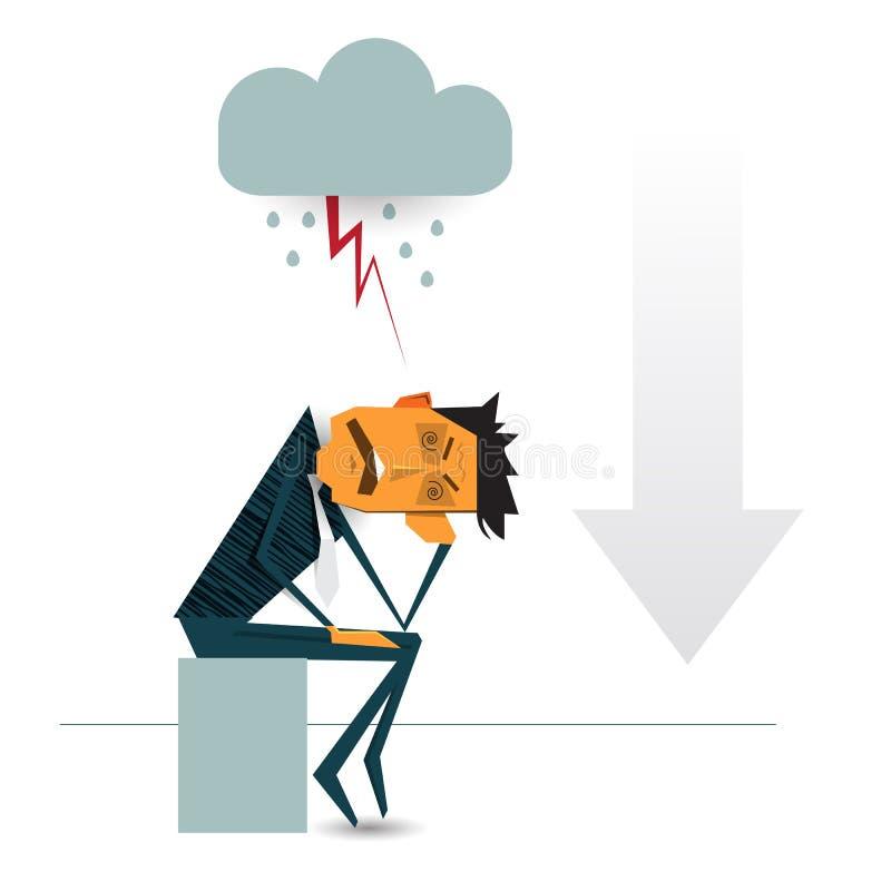Zmartwiony biznesowy mężczyzna myśleć o biznesowym wykresie z negatywnym trendem ilustracja wektor