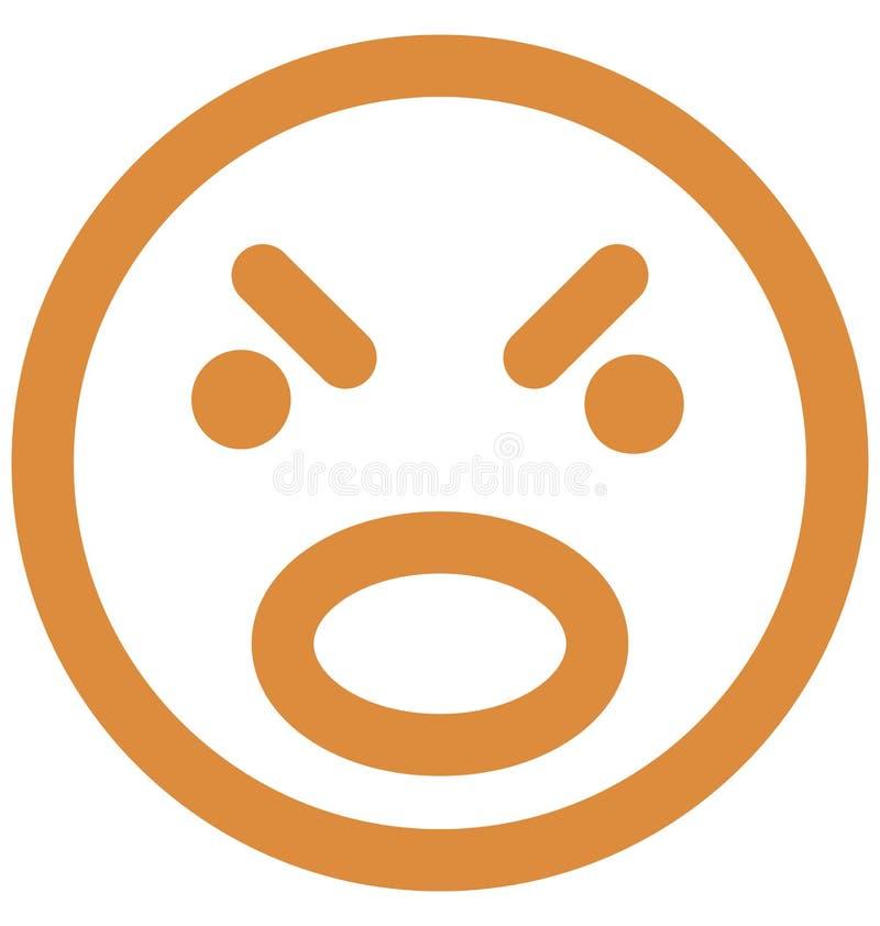 zmartwiony, emoticons Wektorowa Odosobniona ikona która może łatwo redagować lub modyfikować royalty ilustracja