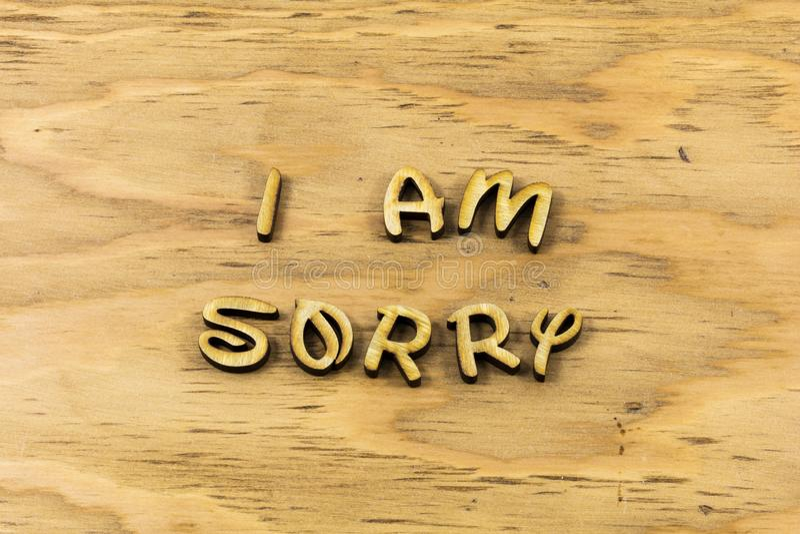 Zmartwiony przeprasza przeprosiny wybacza błędu letterpress typ obraz royalty free