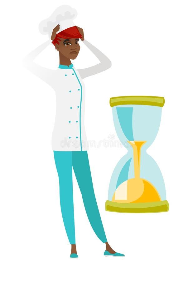 Zmartwiony szefa kuchni kucharz patrzeje hourglass ilustracja wektor