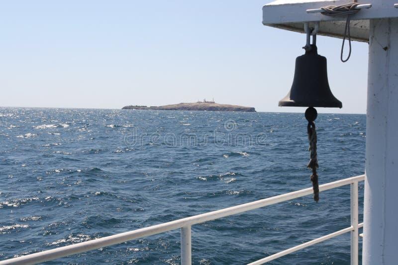 Zmeiniy island. Island Zmeiniy from the vessel royalty free stock images