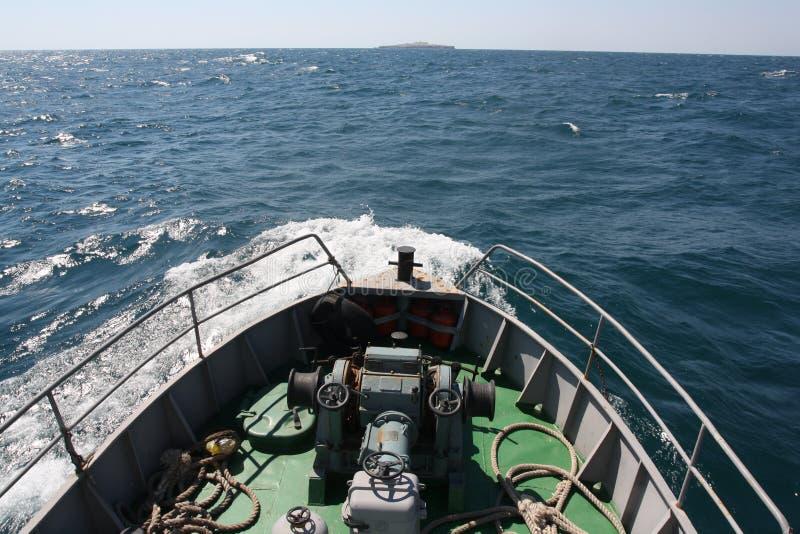 Zmeiniy island. Island Zmeiniy from the vessel stock images