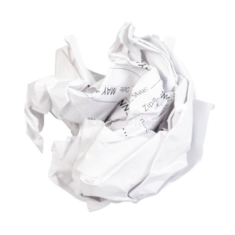 zmięta piłka od używać prześcieradła papieru cięcie za obraz stock