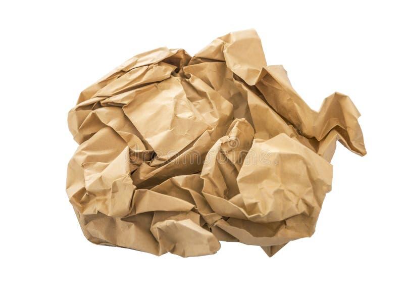 Zmięty kawałek papieru odizolowywający na białym tle obraz stock