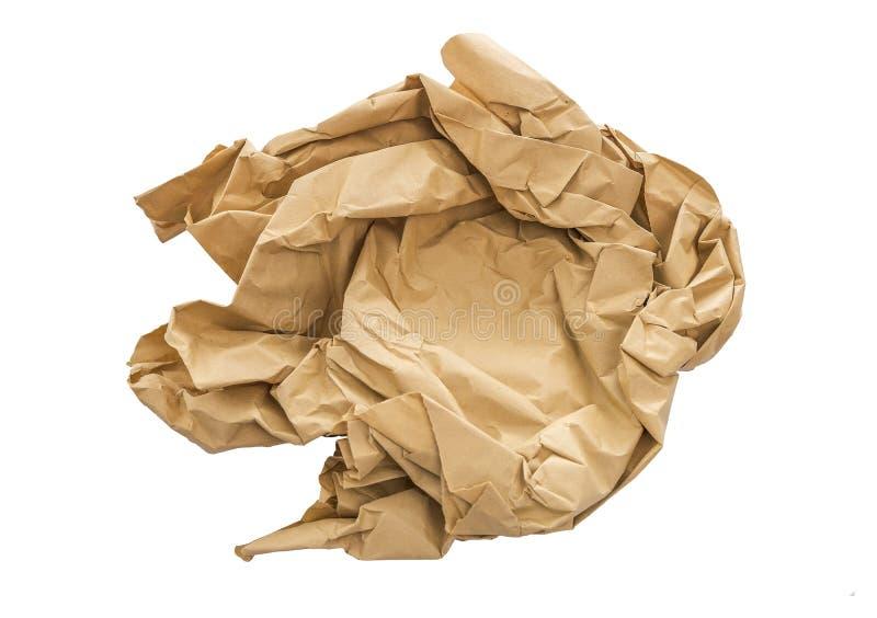Zmięty kawałek papieru odizolowywający na białym tle zdjęcie stock