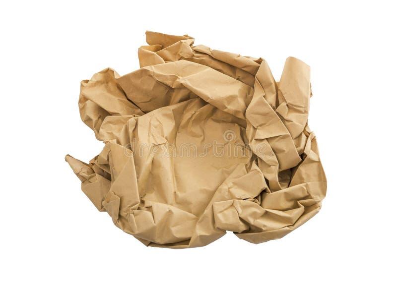 Zmięty kawałek papieru odizolowywający na białym tle zdjęcia stock