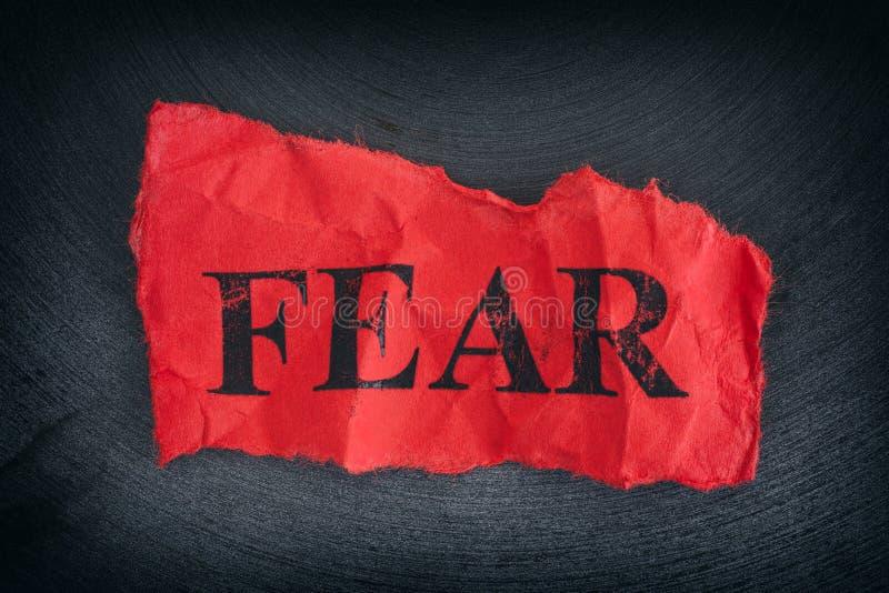 Zmięty kawałek papieru z słowo strachem zdjęcie royalty free