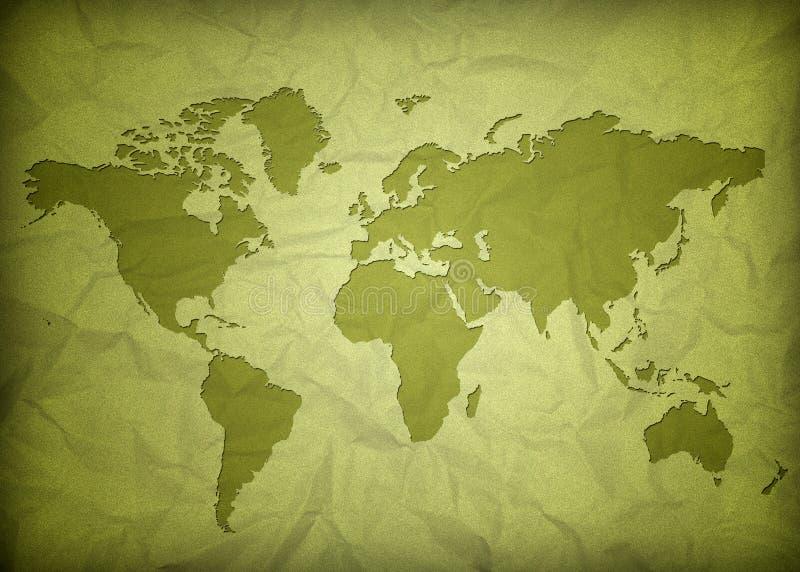 zmięty mapy rocznika świat ilustracja wektor