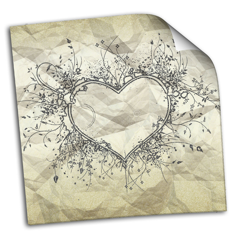 zmięty papier z rysunkami serca ilustracji