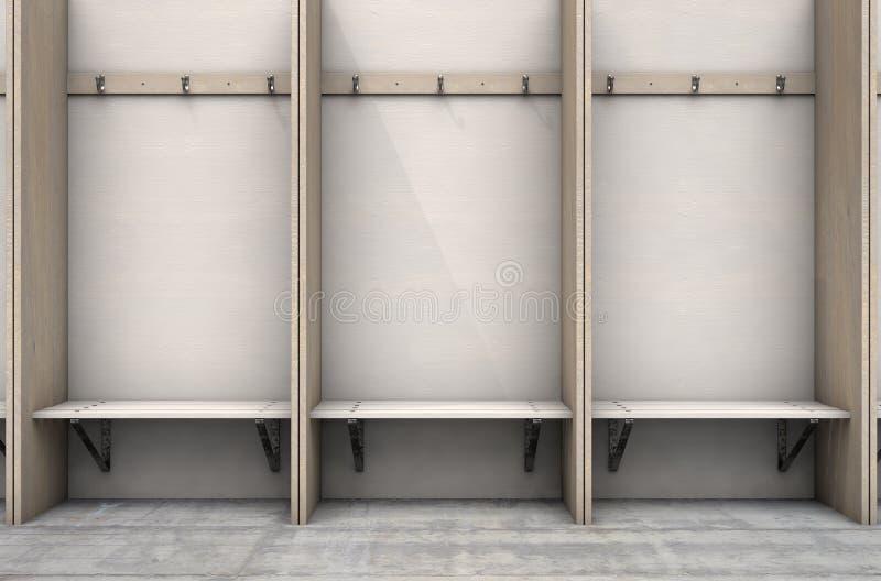 Zmian kabinek Izbowi wieszaki I ławka ilustracja wektor