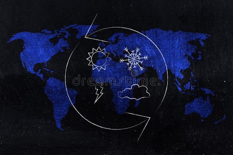 Zmian klimatu pogodowe ikony z przędzalnianymi strzała nad światową mapą royalty ilustracja