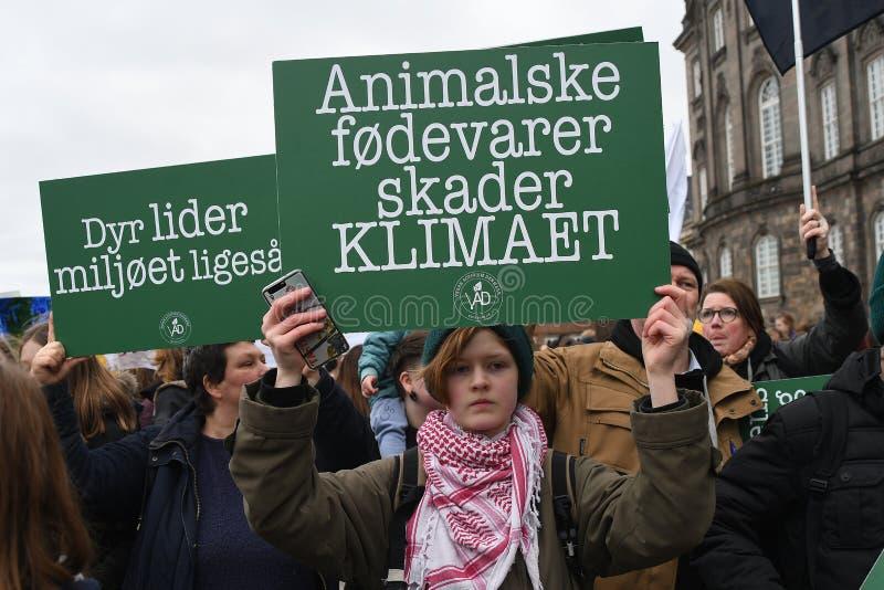 zmiana klimatu protesta wiec W KOPENHAGA DANI obraz stock
