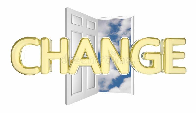 Zmiany Drzwiowy otwarcie Adaptuje Rozwija Wprowadza innowacje Niszczy 3d Illustratio ilustracji