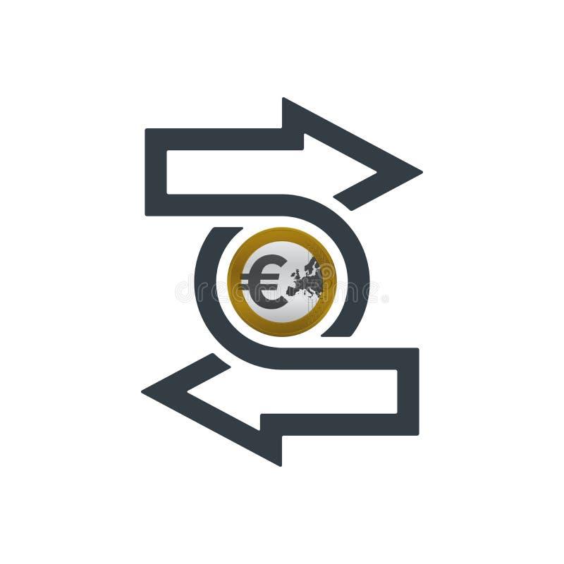 Zmiany ikona z euro monetą ilustracji