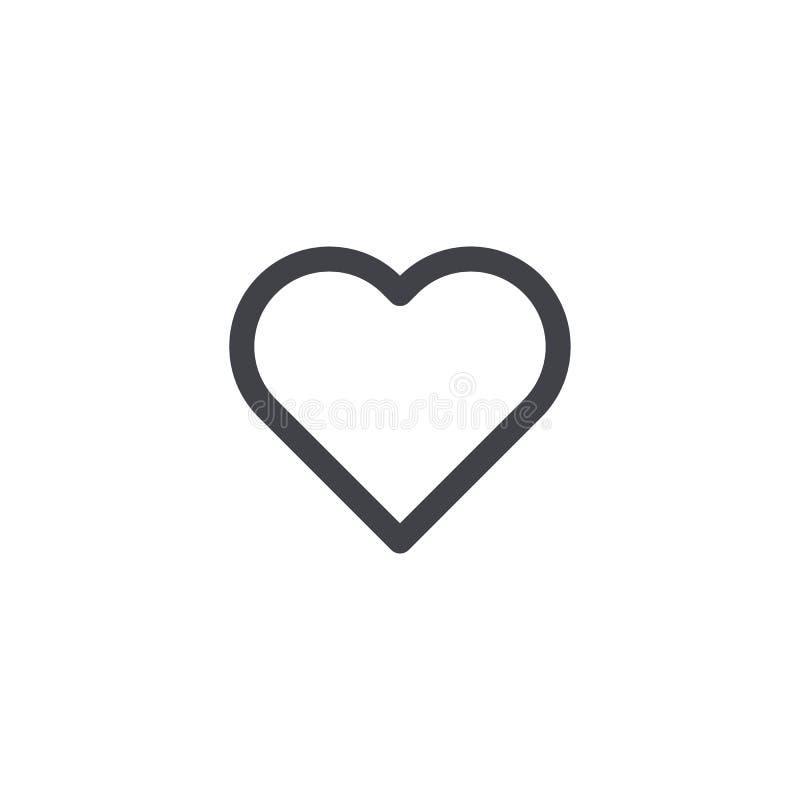 zmiany kierowy ikony czerwieni po prostu wektoru biel Konturu serca ikona serce odizolowane kształtu white pomidorowego Miłość sy royalty ilustracja