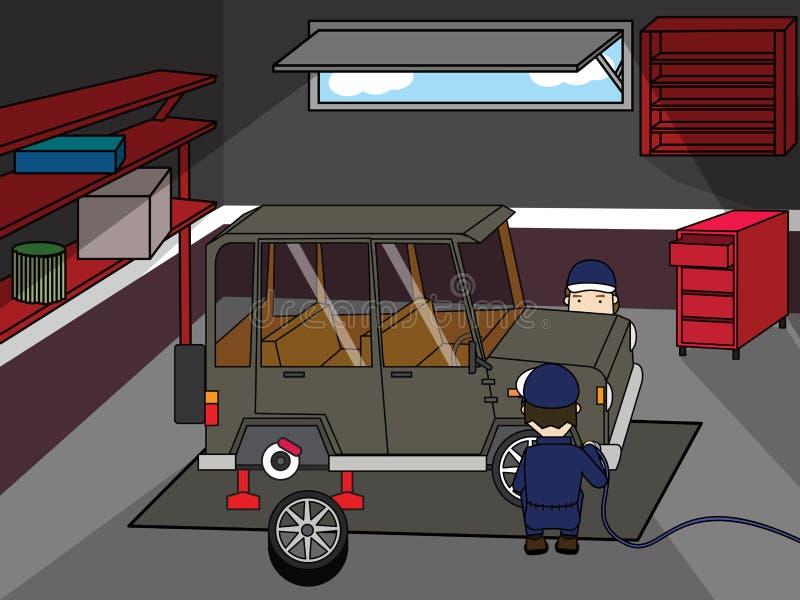 Zmiany koło i naprawa samochód ilustracji