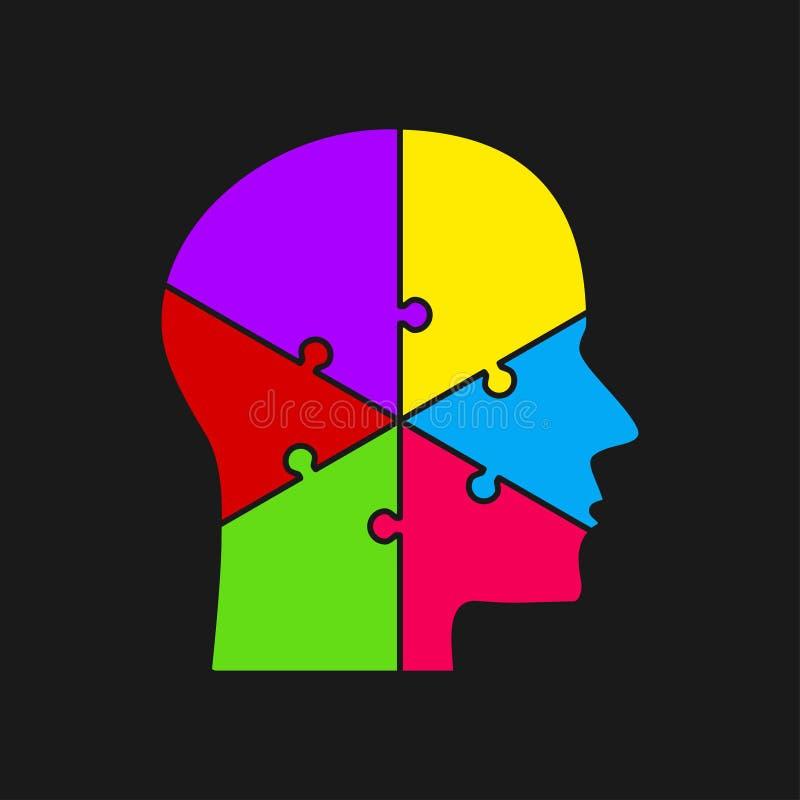 zmiany kolorów łatwa eps8 kawałków łamigłówka wektor Sylwetka mózg głowa Sześć kroków royalty ilustracja
