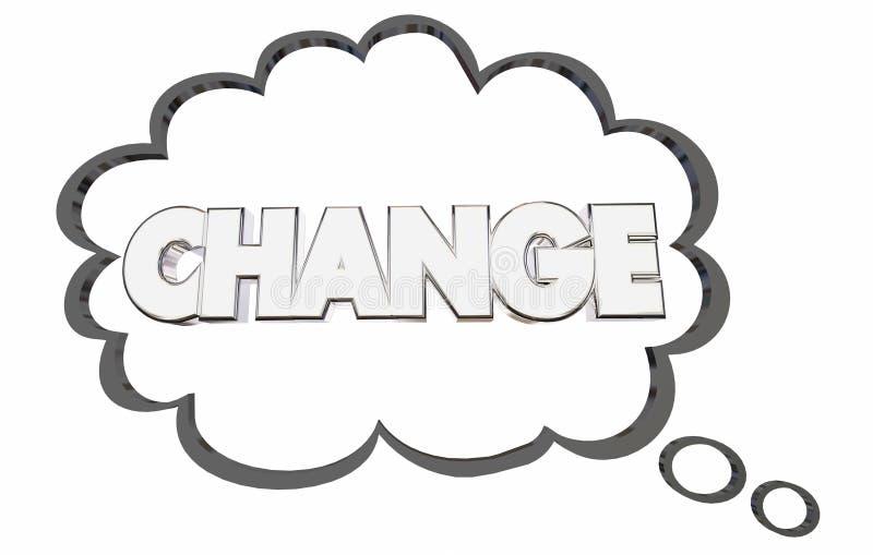 Zmiany myśli chmury bąbel Adaptuje Rozwija Wprowadza innowacje 3d Illustratio ilustracja wektor