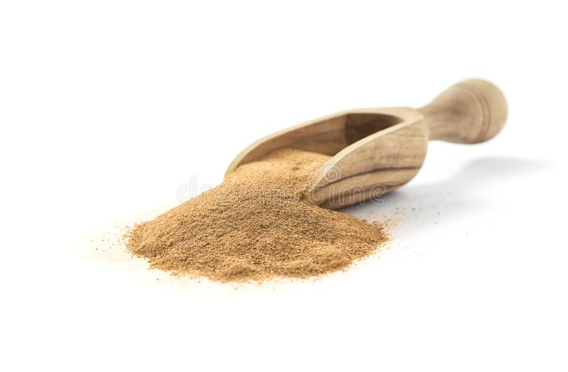 Zmielony Ceylon cynamon w drewnianej miarce obrazy stock