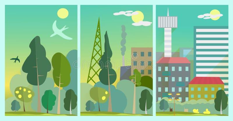 Zmienia środowisko Ekologia w mieście Mieszkanie styl ilustracji