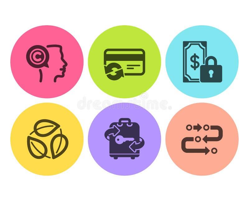 Zmienia kartę i Opuszcza ikony ustawiać, bagaż Pisarz, Intymna zapłata i metodologia znaki, wektor ilustracji