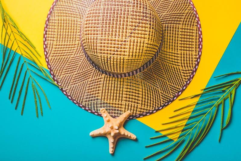 zmienia kolor kolorowego składu łatwo lata ilustracyjnego wektora Tropikalni palma liście, słoma plażowy kapelusz, rozgwiazda na  zdjęcia stock