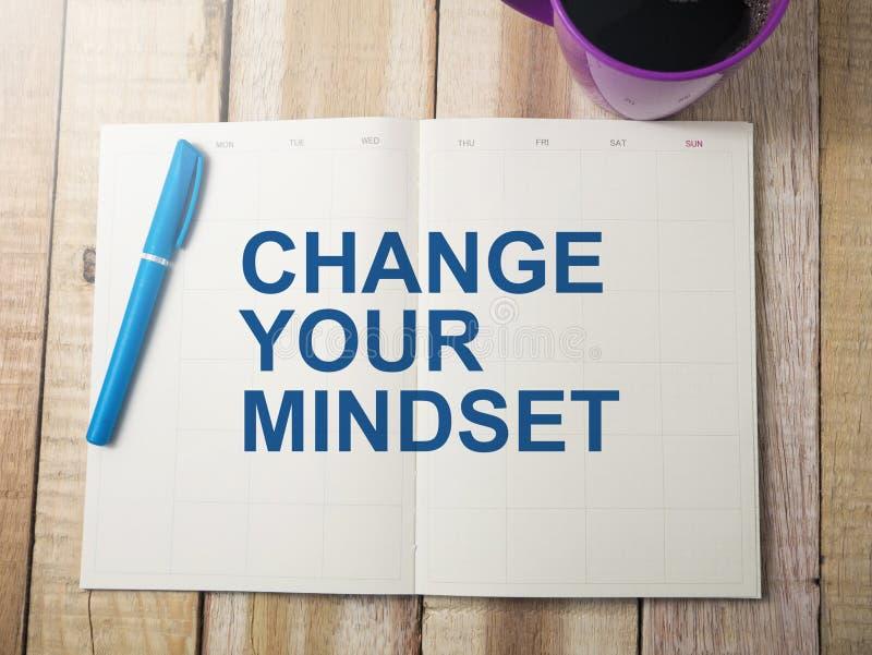 Zmienia Twój Mindset, Motywacyjny słowo wycen pojęcie obraz royalty free