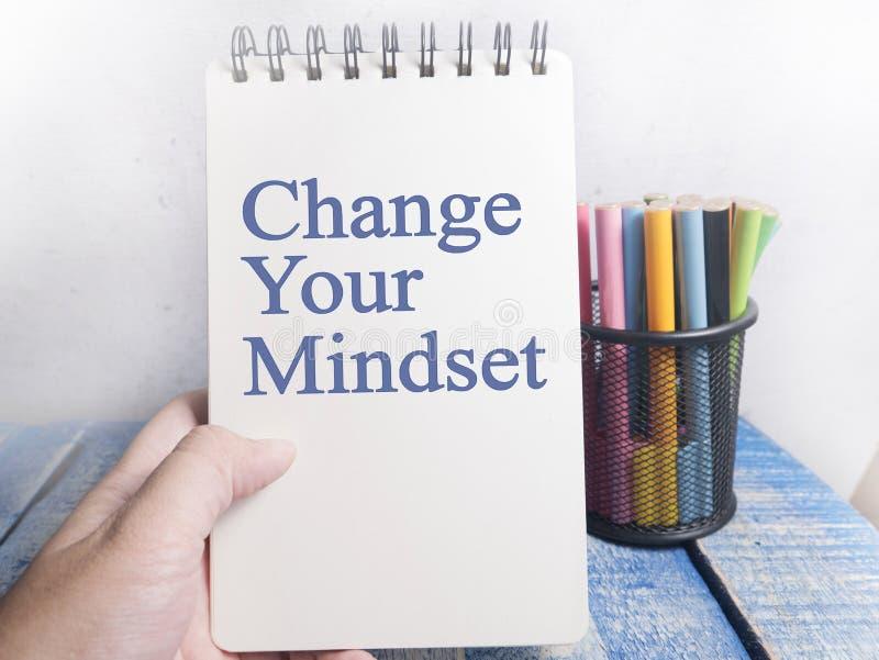 Zmienia Twój Mindset, Motywacyjny słowo wycen pojęcie fotografia royalty free