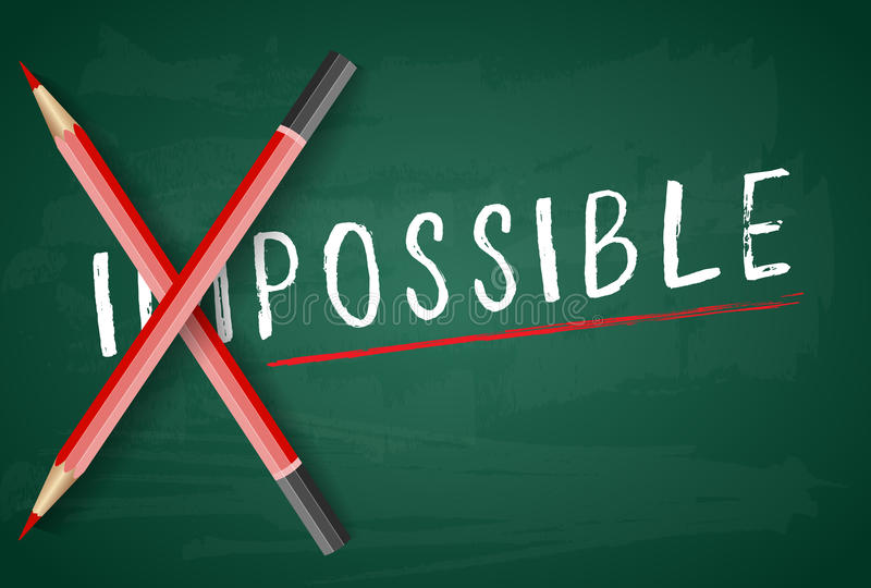 Zmieniający słowo niemożliwego ewentualny z ołówkiem na pokładzie ilustracja wektor