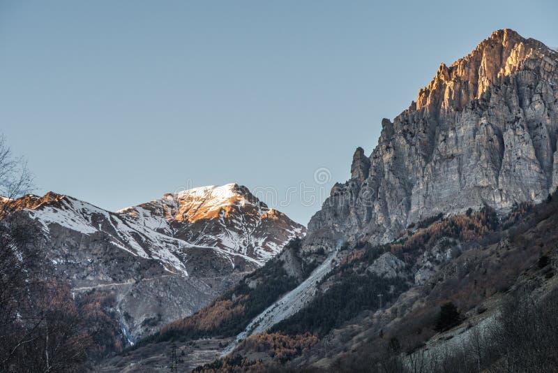 Zmierzchów Europejscy Alps podczas zimy fotografia stock
