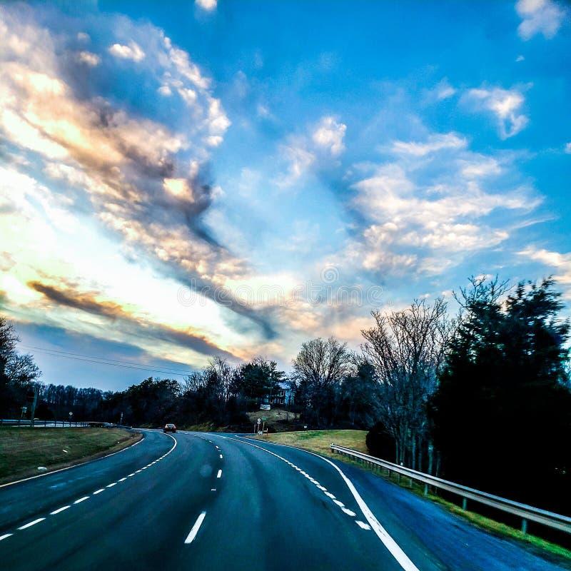 Zmierzchów obrazki w drodze do domu fotografia stock