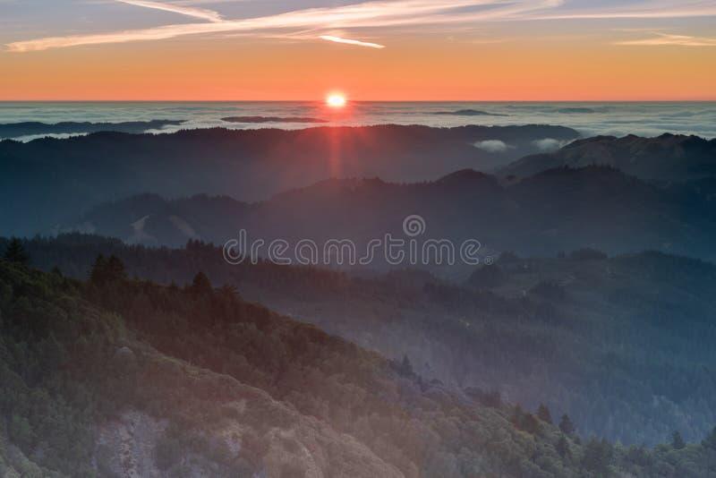 Zmierzchów widoki od góry Tamalpais wschodu szczytu zdjęcie royalty free