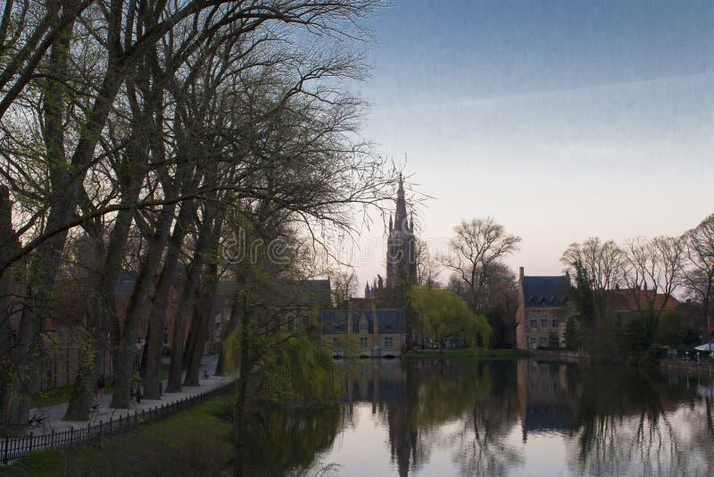 Zmierzch Brugge zdjęcia royalty free